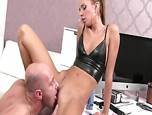 He Fucks His Hot College Girl Boss In Leather Top To Get Erotic