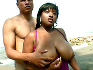 Michelle The Busty Ebony Girl Gets Fucked On A Beach