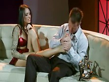 Attractive Stripper Giving A Footjob And Fucking Hard In Many Di