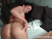 Hot Amateur Milf In Red Nylons & High Heels Enjoys Hard Anal Fuc