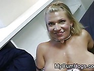 Nasty Blonde Masturbates After Her Face Is Covered With Cum