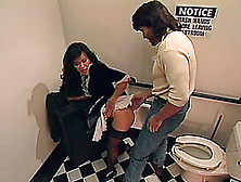 Asian Cute Bends Over In A Restroom For An Engorged Dong