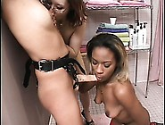 Hot Lesbian Babes Have A Great Threesome With Their Big Strapon