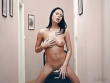 Horny Chick With Black Hair Is Riding Her Sybian,  Since Her Boyf
