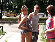 Kinky Chicks Are Fucking In A Public Park Having Ffm Threesome