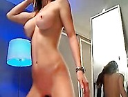 Busty Blonde Big-Ass Ride Dildo On Webcam