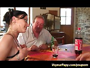 French Teen Threesome With Voyeur Papy
