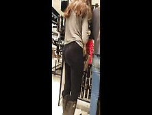 Sexy Brunette Teen And Her Huge Ass In See Through Leggings Caug