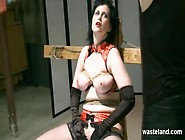 Slave In Stockings Has Wax Poured On Her Big Tits As She Sucks M