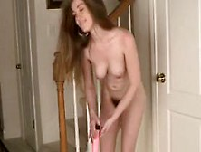Beautiful Teen With Hairy Pussy & Ass Masturbates W