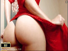 Hot Blond With Red Dress Teases With Her Big Ass: 4Udr3Y2