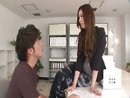 Japanese Office Slut Yui Kasuga Seduces Co-Worker And Gets Her P