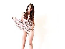 Pretty Teen In Summer Dress Is Kneeling In Front Of Her Partner