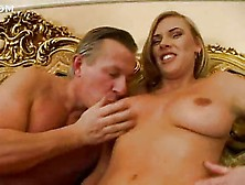 Pretty Tall Busty Blonde Anal With Older Man