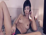 Skinny Japanese Rubs Hairy Bush With Vibrator Inside