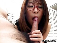 Cute Japanese Girl With Glasses Gives A Blowjob