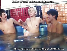 Crazy Student Group Sex With Blonde On Three Members