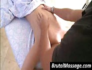 Hot Brunette Chick Gets Massaged