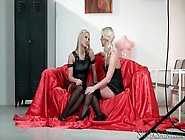 Blonde Girls In Sexy Clothes Kiss And Touch Lustily