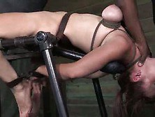 Redhead And Brunette Interracial Bondage