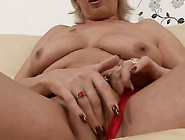 Busty Mature Blonde Gal Plays In Red Panties