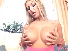 Hot Blonde Anette Dawn Posing And Playing Her Huge Boobs