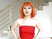 Bright Red Head In Red Dress Strips And Gives Sensual Blowjob St