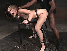 Filthy And Hot Blonde Woman Is Enduring Rough Bdsm Threesome