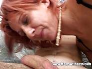 Redhead Horny Stepmom Fucking Her Jerking Stepson