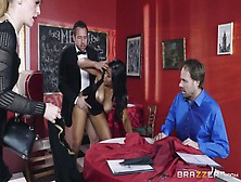 Black Waitress Bends For Cock To Delight Her Boss With Pleasure