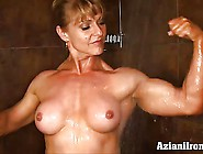 Bodybuilder Shaves Her Smooth Pussy In The Shower