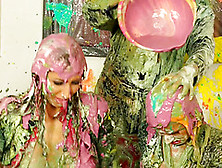Naughty Trio Of Sexy Lesbians Get Messy Applying Color On Themse