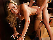 Stunning Blonde In Stockings Brandi Love Gives Away Her Cunt For