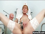 Slender Mature Nurse Fucks Cunt With A Black Toy
