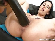 Brunette Fucking Her Pussy With A Big Black Brutal Dildo In Hd