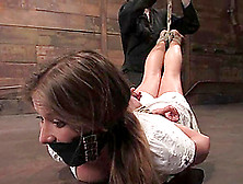 Miles Of Ropes Are Used In Order To Suspend This Slut