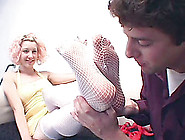 Fishnet-Clad Chick With A Fantastic Body Getting Her Toes Sucked