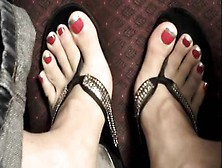 French Manicured Toes In Studded Flip Flops