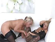 Busty Blonde Slut Licks Sexy Agent For Money
