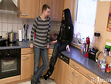 Sexy Teen Sucks And Fucks In The Kitchen