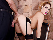 Hot Blonde Wearing Stockings And Gloves Grabs Her Juicy Ass Whil