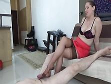Dominant Milf In Nylon Stockings Lady Cruella Tortures Her Slave