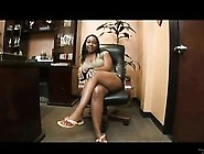 Ebony Babe Shows Her Feet At The Office And Gets A Creampie
