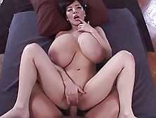 Asian Beauty With Gigantic Milk Jugs Is Riding Her Lover's
