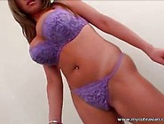 Busty Whore Took Of Her Purple Lingerie While Smoking A Cigarett