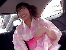 Hayakawa Mizuki Wears A Kimono While Masturbating In A Car