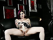 Horny Tattooed Strumpet Fucks Her Pussy With Monstrous Fake Cock