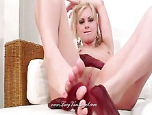 Bridget Blonde Nylon Foot Tease