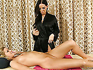 Black Haired Sexy Gal Licks Juicy Pussy Of Her Shy Blondie In Ma