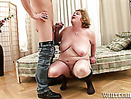 Old Ugly Milf With Huge Boobs Gets Her Mouth Fucked Hard